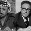 Portraits of Yasser Arafat and Henry Kissinger