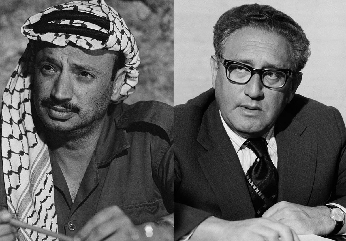 Portraits of Yasser Arafat and Henry Kissinger