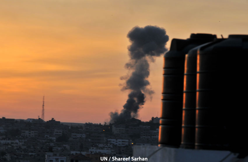 Photo of Gaza bombing. Photo by UN / Shareef Sarhan.