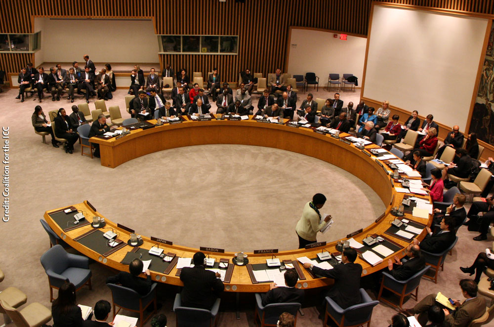 Photo of UN Security Council. Photo by Coalition for the ICC.