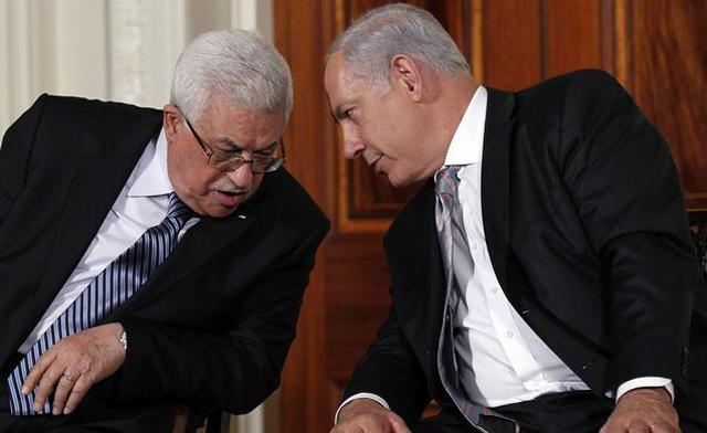 Photo of Mahmoud Abbas with Benjamin Netanyahu