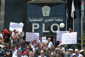 Photo of PLO office with protestors