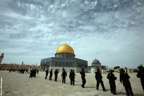 Photo of Israeli police at Dome of the Rock, Jerusalem