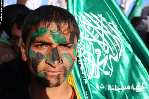Photo of boy with Hamas flag