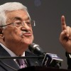 Palestinian President Mahmoud Abbas gives a speech