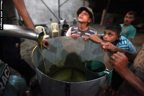 Palestinian children stand near olive press during producing olive oil in Gaza city on Oct. 12,2012 during the olive harvesting season.